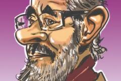orateur immortalisé en caricature digitale durant un congrès